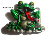 Frog on Lily Pond Belt Buckle + display stand. Code BG4